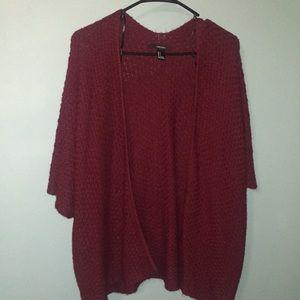 Maroon yarn cardigan